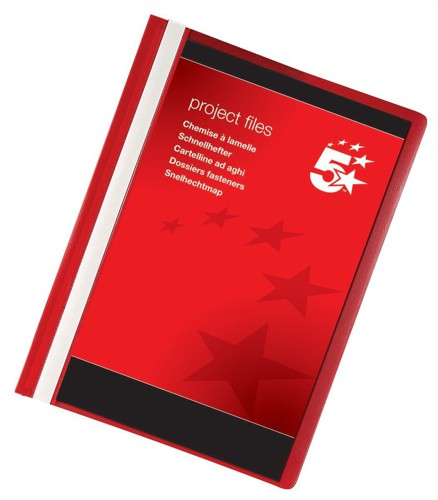 5 Star Project Flat File Lightweight Polypropylene with Indexing Strip A4 Red [Pack 5]