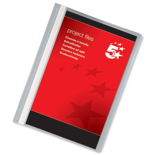 5 Star Project Flat File Lightweight Polypropylene with Indexing Strip A4 Grey [Pack 5]