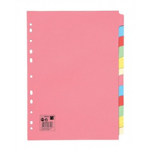 5 Star Subject Dividers Multipunched Manilla Board 12-Part A4 Assorted