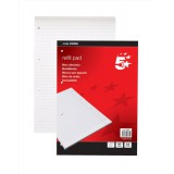 5 Star Refill Pad Feint Headbound Ruled with Margin 60gsm 4-Hole Punched 80 Sheets A4 [Pack 10]