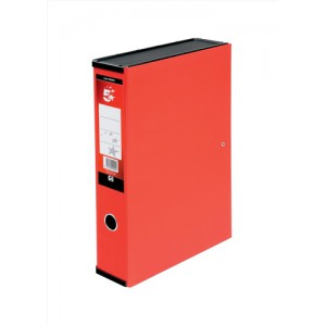 5 Star Box File Lock Spring with Ring Pull and Catch 75mm Spine Foolscap Red [Pack 5]