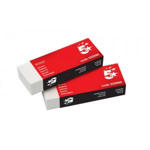 5 Star Plastic Eraser Paper-sleeved 60x21x12mm [Pack 10]
