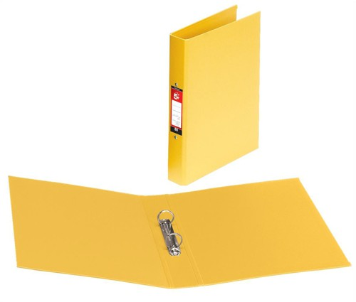 5 Star Ring Binder PVC 2 O-Ring Size 25mm A4 Yellow [Pack 10]