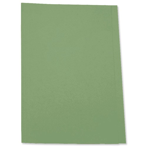 5 Star Square Cut Folder Recycled Pre-punched 180gsm Foolscap Green [Pack 100]
