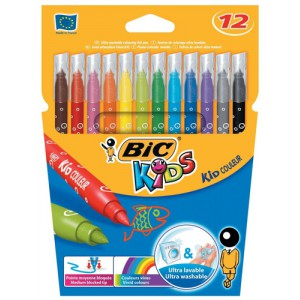 Bic Kids Couleur Felt Tip Pens Ultra-washable Water-based Medium Tip Assorted Code 841798