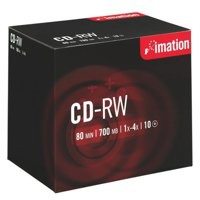 Imation CD-RW 700Mb/80minutes 1X-4X in Jewel Case Pack of 10 i19001
