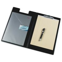 Clipboard Fold Over Executive PVC Finish with Pocket Foolscap Black