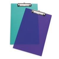 Clipboard Polypropylene Shatterproof Frosted Purple or Green or Clear