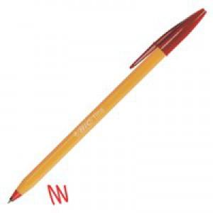 Bic Orange Ball Pen 0.8mm Tip 0.2mm Line Red Ref 1199110112 [Pack 20]