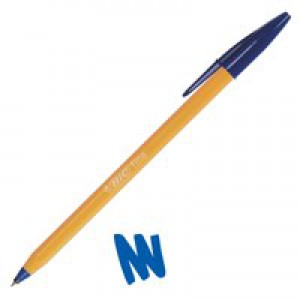 Bic Orange Ball Pen 0.8mm Tip 0.2mm Line Blue Ref 1199110111 [Pack 20]