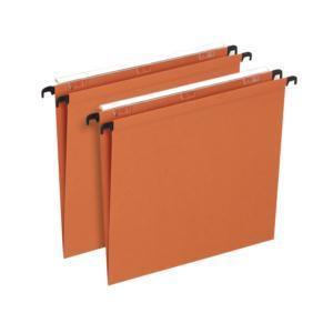 Elba Linking Suspension File Manilla V-Base 15mm Foolscap Orange Pack 50