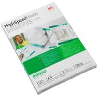 GBC Hi-Speed Laminating Pouches Premium Quality 30percent Faster 250 Micron A4 Ref 3747348 [Pack 100]