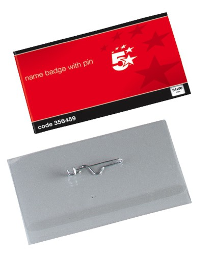 5 Star Name Badge 54X90mm with Pin Pk50