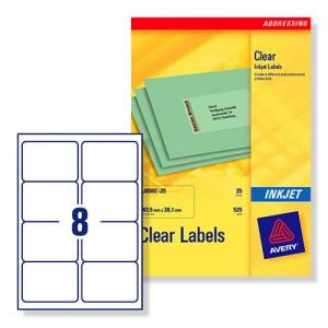 Avery Clear Addressing Labels 8 per Sheet 99.1x67.7mm Ref J8565-25 [200 Labels]