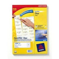 Avery Clear Inkjet Label 99.1x34mm 16 per Sheet Pack of 25 J8562-25