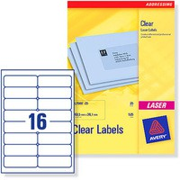 Avery Clear Laser Label 99.1x34mm 16 per Sheet Pack of 25 L7562-25