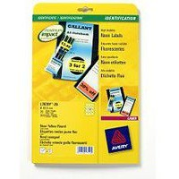Avery Laser Label Circle 63.5mm Fluorescent Yellow Pack of 25 L7670-25