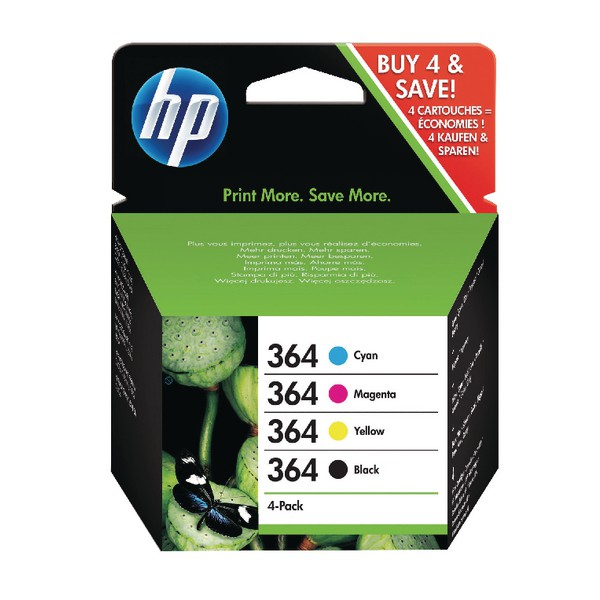 HP 364 Inkjet Cart Colour Pkd4 SD534EE