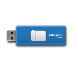 Integral Slide Flash Drive USB 2.0 Retractable 8GB Blue Ref INFD8GBSLDBL