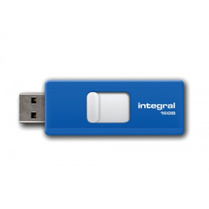 Integral Slide Flash Drive USB 2.0 Retractable 16GB Blue Ref INFD16GBSLDBL