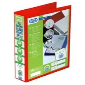 Elba Panorama Presentation Ring Binder PVC 4 D-Ring 50mm Capacity A4 Red Ref 400008432 [Pack 4]