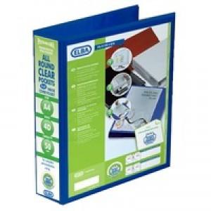 Elba Presentation Ring Binder PVC 4 D-Ring 50mm Capacity A4 Blue Ref 400008431 [Pack 4]