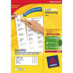 Avery White Laser Labels For Addressing 100 Sheets 2400 Labels Size 64x34mm FSC Code L7159-100
