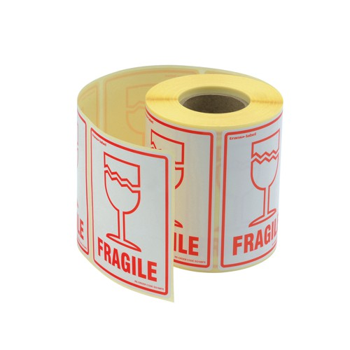 Adpac Parcel Labels Fragile 108x79mm on Roll Diameter 210mm Ref SG108FR [500 Labels]