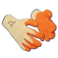 Image for Latex Gloves Polyester Cotton Medium Orange [12 Pairs]
