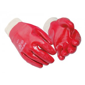 Portwest PVC Knitted Wrist Gloves Cotton & PVC Large Red Ref A400LGE [12 Pairs]