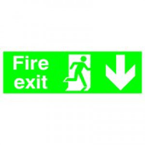 Niteglo Fire Exit/Arrow Down Sign PSPA-certified Polypropylene W150xH450mm Ref FX04211M