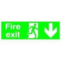Niteglo Fire Exit/Arrow Down Sign PSPA-certified Polypropylene W150xH450mm Ref FX04211M