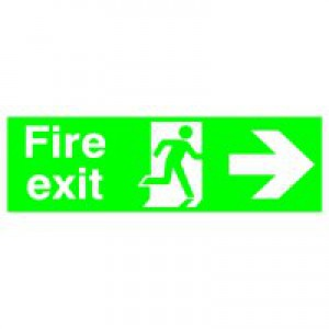Niteglo Fire Exit/Arrow Right Sign PSPA-certified Polypropylene W150xH450mm Ref FX04411M