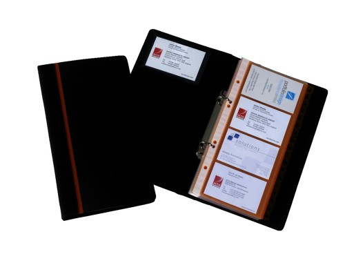 Business Card Book Professional Ring Binder with A-Z Index Capacity 128 Cards