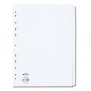 Concord Subject Dividers 230 Micron Punched 11 Holes 12-Part A4 White Ref 79501
