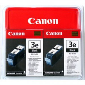 Canon BCI-3E BK Inkjet Cartridge Page Life 840pp Black Ref 4479A287 [Pack 2]