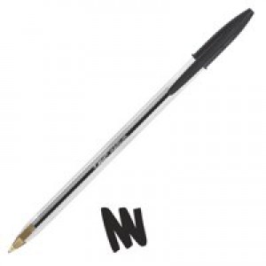 Bic Cristal Ball Pen Clear Barrel 1.0mm Tip 0.4mm Line Black Code 847822