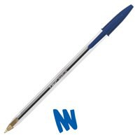 Bic Cristal Ball Pen Clear Barrel 1.0mm Tip 0.4mm Line Blue Ref 8373602 [Pack 50]