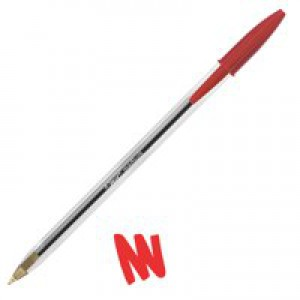 Bic Cristal Ball Pen Clear Barrel 1.0mm Tip 0.4mm Line Red Ref 8373612 [Pack 50]