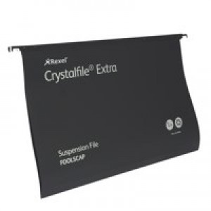 Rexel Crystalfile Extra Suspension File Polypropylene 15mm Foolscap Black Ref 3000080 [Pack 25]