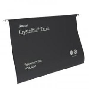 Rexel Crystalfile Extra Suspension File Polypropylene 15mm Foolscap Black Ref 3000080 [Pack 25]