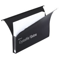 Rexel Crystalfile Extra Secura Suspension File Polypropylene 30mm Foolscap Black Ref 3000087 [Pack 20]