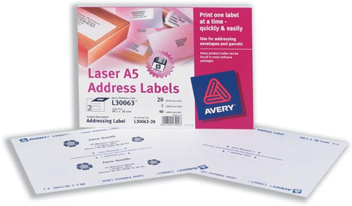 Avery Addressing Labels Laser A5 Sheet of 2 Each 99.1x38.1mm Ref L30063-20 [40 Labels]