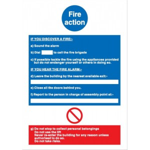 Stewart Superior Fire Equipment Sign Fire Action Write On 297x210mm Code NS017