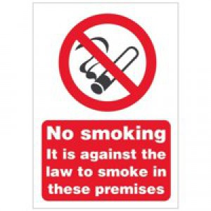 Stewart Superior Sign No Smoking A5 Self-adhesive Vinyl Ref SB003