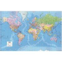 Map Marketing World Map 3D Effect Giant Unframed 315 miles to 1 inch Scale W1840xH1200mm Ref GWLD