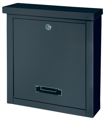 Rottner Brighton Mail Box Opening Suitable for A4 Documents W400xD155xH310mm Black Ref T04508
