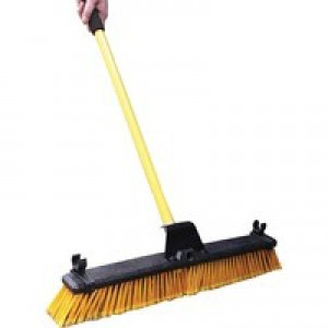 Bulldozer Broom Dual Purpose Soft/Stiff PVC Yard Broom & Metal Handle 24inch Code SPC/HQ16