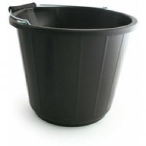 Heavy Duty Bucket With Metal Handle Capacity 14 Litres Black Ref SPC/BUCKET01