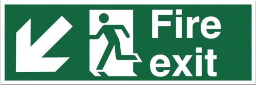 Stewart Superior Fire Exit Sign Man and Arrow Down Left 600x200mm Self-adhesive Vinyl Ref NS005